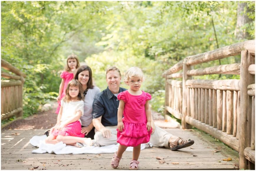 Family photo on bridge in Northern Virginia