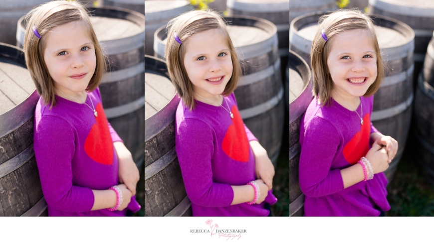 Photos of girl standing by barrels on farm