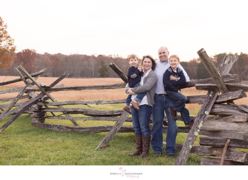Family by fence at Manassas Battlefield Park