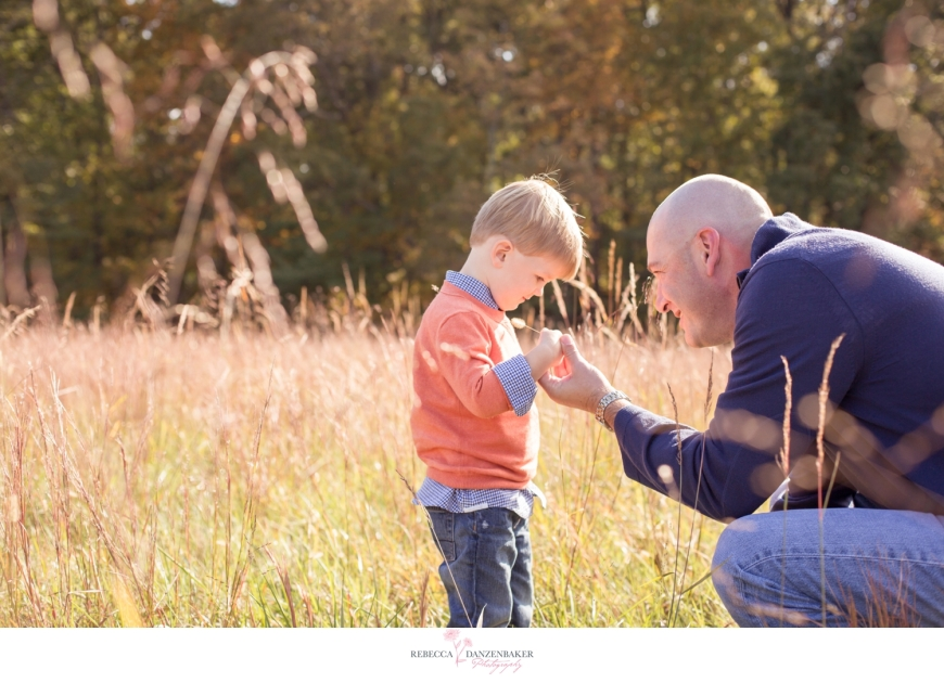 Father and son in field in Manassas