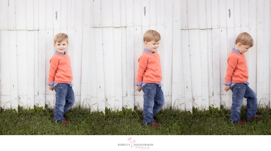 Photos of boy beside rustic shed in Manassas