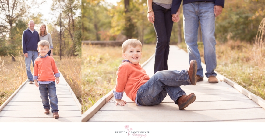 Photo of boy with parents on bridge in Northern Virginia