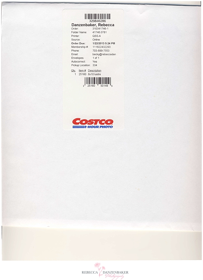 Costco photo lab print envelope