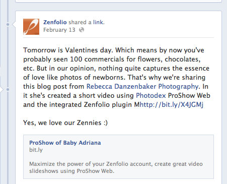 Zenfolio post on Facebook