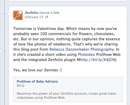 Zenfolio post on Facebook