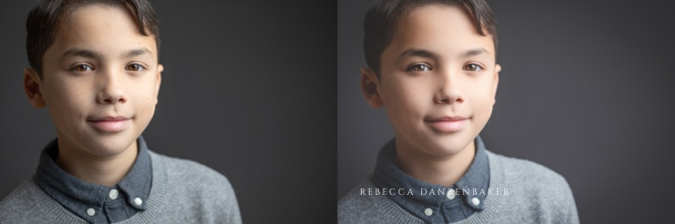 Before and after retouching photography in Northern Virginia photo studio