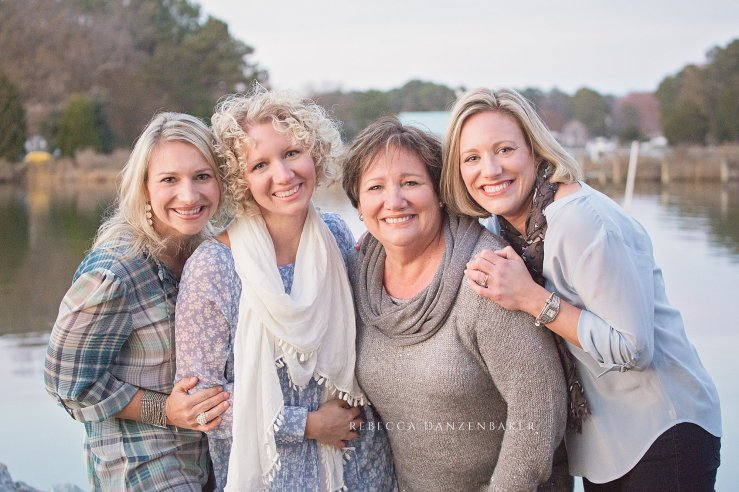 Rebecca Danzenbaker with her mom and two sisters in 2014