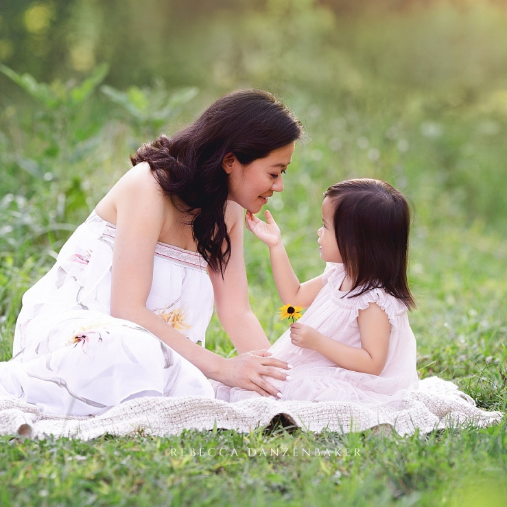 Mother and daughter portrait in the spring