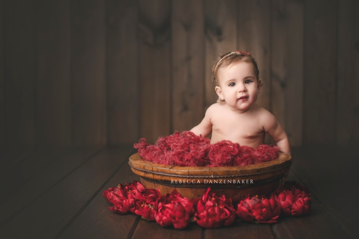 baby photography in Northern Virginia of 9-month-old girl sitting in wooden bowl with red fluff on wooden backdrop